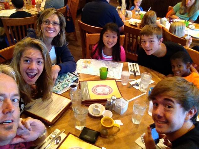 Eide nations out to breakfast (a first day of school tradition)